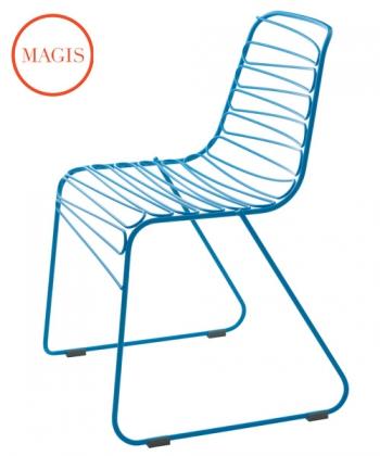 metalowe krzesło Flux niebieskie   Magis   design Jerszy Seymour   Magis