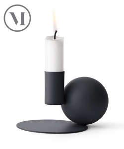 Optical Candle Holder czarny skandynawski świecznik | Menu