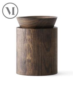 Wooden Bowl wysoki ciemny dąb skandynawski pojemnik do przechowywania | Menu
