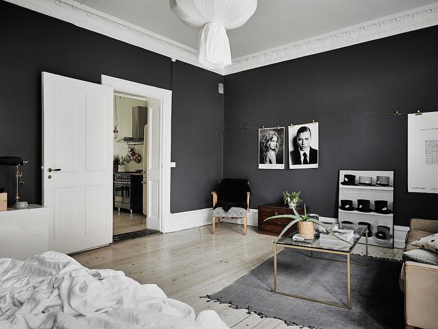 Skandynawski apartament z ciemnymi ścianami