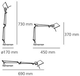 Artemide Tolomeo Micro Tavolo wymiary