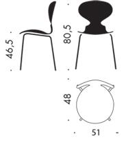 Fritz Hansen Ant Mrówka wymiary design Arne Jacobsen