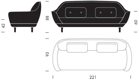 Fritz Hansen Favn sofa wymiary