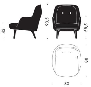 Fritz Hansen Fri fotel wymiary - design Jaime Hayon