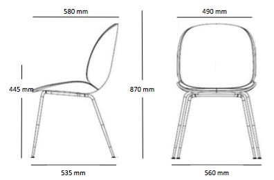 Gubi Beetle Chair wymiary