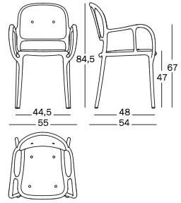 Magis krzesło Mila Cushion wymiary