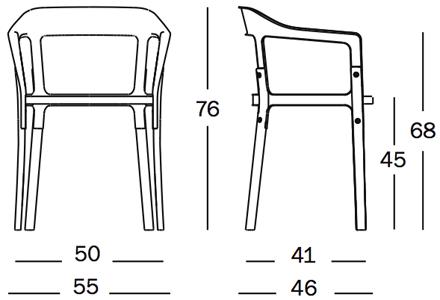 Wymiary krezesło Steelwood Chair Magis