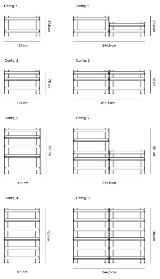 System regałowy Compile Muuto konfiguracje i wymiary