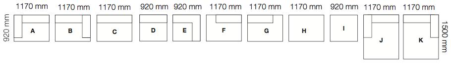 Muuto Connect sofa moduły i wymiary