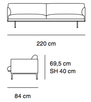 Muuto sofa Outline 3 osobowa, rysunek