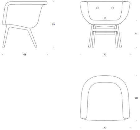 +Halle Chester fotel wymiary, design Kåre Frandsen