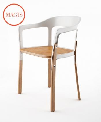 Steelwood Chair buk / biały | Magis | design Ronan & Erwan Bouroullec | Design Spichlerz